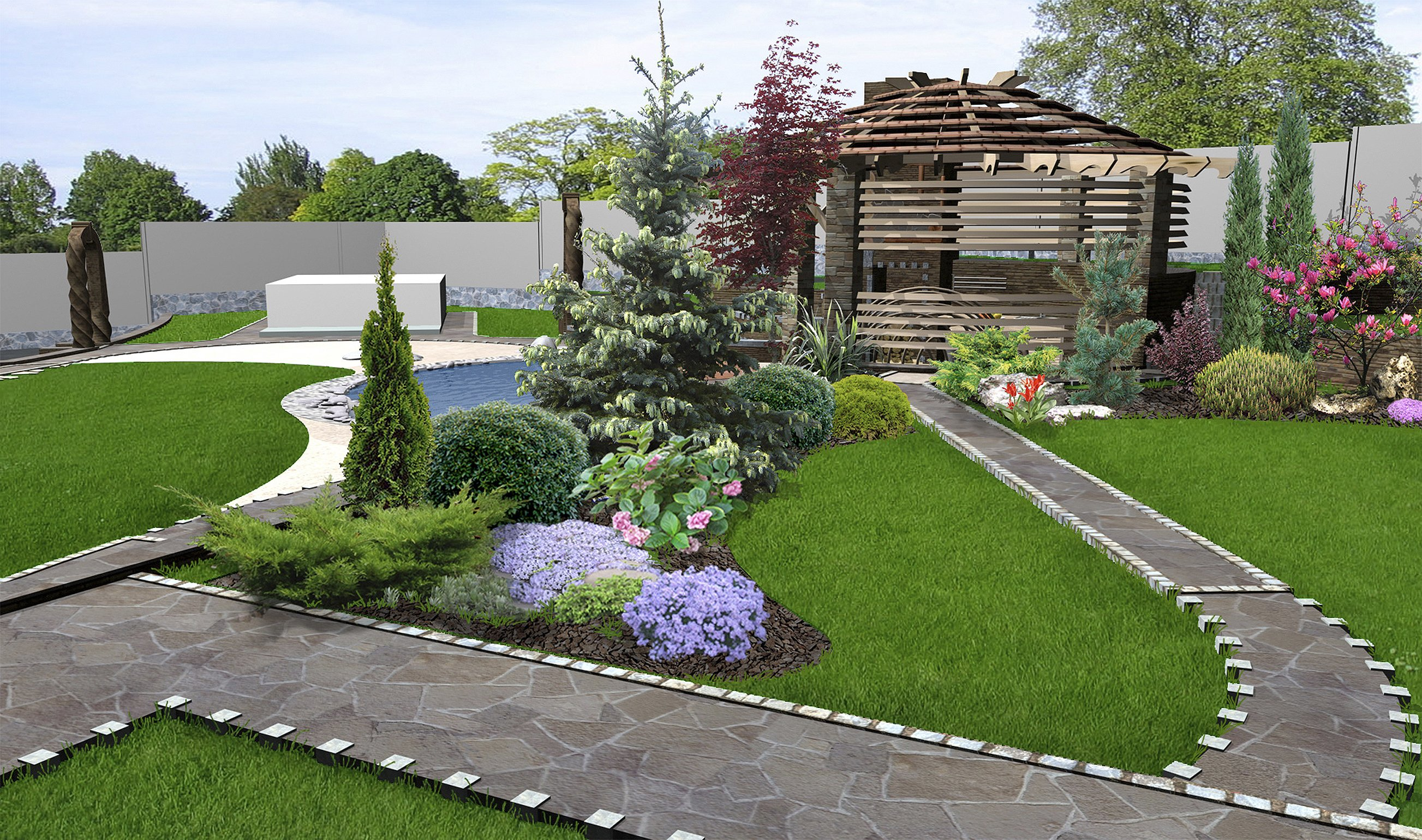 patio-horticultural-background-3d-rendering-76600421
